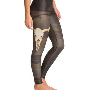 """Deer medicine"" chic cow skull charcoal leggings"